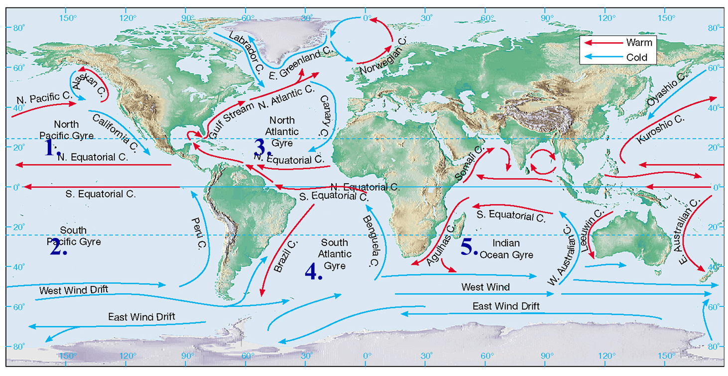 The geophile pages five main gyres north pacific ocean south gumiabroncs